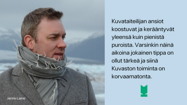 Kuvassa kuvataiteilija Janne Laineen henkilökuva ja hänen sitaattinsa.