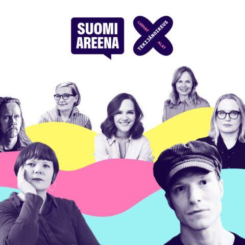 Luovasti kohti huomista -tilaisuuden kaikkien esiintyjien kuvat yhteiskuvassa, jossa myös SuomiAreena-logo ja Luovat alatxtekijänoikeus-tunnus.