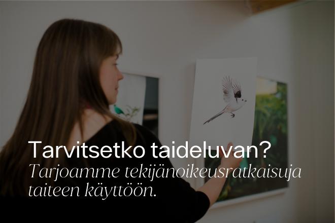 Kuvassa taiteilija Sanna Kannisto pitelee toisessa kädessä teostaan, jossa näkyy lintu valkoisella taustalla. Kuvan päällä on teksti: Tarvitsetko taideluvan? Tarjoamme tekijänoikeusratkaisuja taiteen käyttöön.